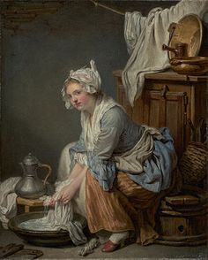 The Laundress 1761 Jen baptiste Greuze - Getty Museum Note the seam placement, loose sleeves full skirts and double ruffle cuffs.  Wonder what the front looks like