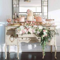 French vintage inspired mini wedding cakes dessert table bar display