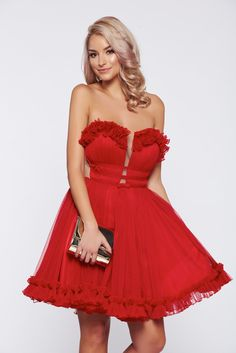 Ana Radu red occasional tulle dress bow accessory, bow accessory, inside lining, wrinkled fabric, back zipper fastening, corset tipe fastening, net