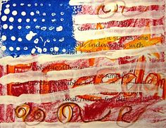For the Love of Art: 3rd Grade.  Thinking of this idea where the Declaration of Independence is underneath.  I like seeing the words and art under the flag.