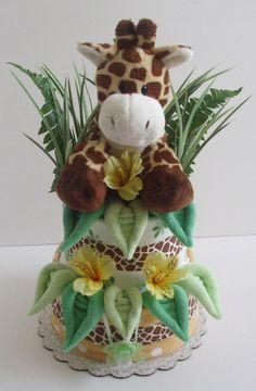 baby boy giraffe diaper cakes | Tier Jungle Giraffe Diaper Cake by BountifulBabyCakes on Etsy