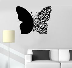 Wall Vinyl Decal Butterfly Flower Ornament Symbol of Endurance and Hope Abstract Modern Home Decor ( Simple Wall Paintings, Creative Wall Painting, Wall Painting Decor, Creative Walls, Diy Wall Art, Diy Wall Decor, Butterfly Wall Art, Butterfly Wall Stickers, Wall Drawing