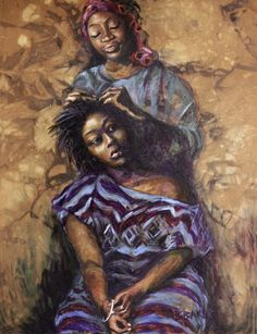 The expressions on the women's faces are classic & historical. She just told her.'girl lean yo' head this way'. Black Love Art, My Black Is Beautiful, Caricatures, African American Artwork, African Artwork, African Paintings, Natural Hair Art, Art Africain, Black Artwork