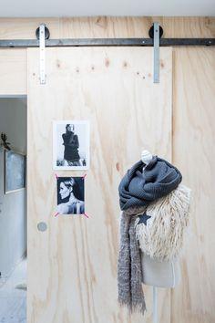 OSB love & I love the door Decor, House, Interior, House Inspiration, Doors Interior, Home Decor, House Interior, Plywood Interior, Barn Doors Sliding
