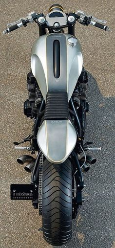 Sleek custom motorcycle - from above