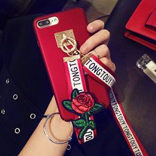 Simple Fashion Pure Color Matte Soft Silicone Cell Phone Shell with Embroidery Lanyard + Metal Ring Holder For Iphone For Iphone 6 Plus, For Iphone Plus, For Iphone Plus, For Iphone X Cell Phone Cases, Iphone Cases, Rose Embroidery, Plus 8, Simple Style, Iphone 8, Cell Phone Accessories, Roses, Samsung