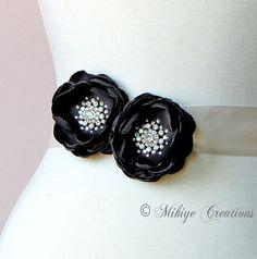 Black Wedding Sash Accessory   Bridal Hair by MikiyeCreations, $65.50