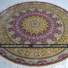 Purple red round oriental silk rug 6.6x6.6ft  whatsapp:008613213228709 coco@camelcarpet.com