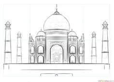 how to draw the taj mahal step by step drawing tutorials for kids and beginners