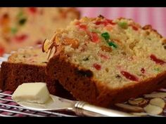 This delicious Light Fruit Cake is an almond scented butter cake full of candied fruits and raisins. With Demo Video Eggless Fruit Cake Recipe, Light Fruit Cake Recipe, Food Cakes, Cupcake Cakes, Fruit Cakes, Cupcakes, Baking Recipes, Cake Recipes, Party Recipes