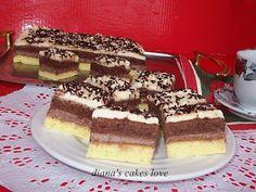 diana's cakes love: Prăjitură cu două blaturi si două creme Romanian Desserts, Romanian Food, Romanian Recipes, Dessert Drinks, Dessert Recipes, Bagel, Sweet Treats, Deserts, Food And Drink