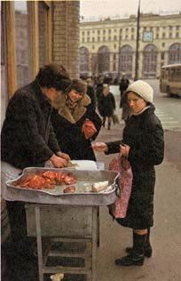 meat stand in the street selling raw meats and poultry