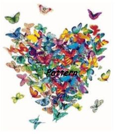 Butterfly heart. Cross Stitch Pattern. PDF от ExclusiveXPatterns