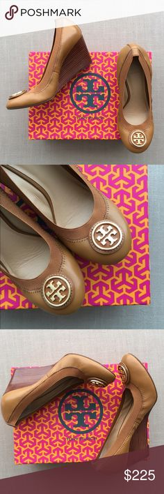 NEW IN BOX  Authentic Tory Burch Wedge Heels Brand new in box Tory Burch Caroline 2 Heels in size 8. Fits true to size. Color is Tan with gold detailing. Gorgeous! PRICE IS FIRM. NO TRADES. Tory Burch Shoes Heels