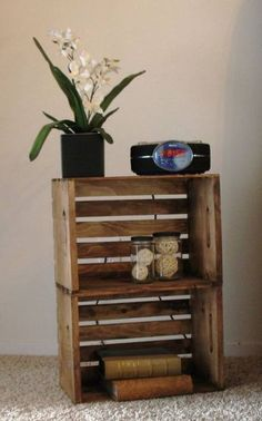 Wooden Crate Nightstand Diy Home Decor 33 New Ideas - Wooden Crates Bookshelf Decor, Crate Nightstand, Diy Nightstand, Diy Furniture, Home Decor, Crate End Tables, Wooden Crates Nightstand, Wooden Crate, Crate Side Table