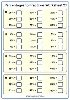 Percentages to Fractions Maths Worksheet and Answers Year 7 Maths Worksheets, Multiplication Worksheets, Math Fractions, 5th Grade Math, Math Class, Grade 2, Math For Kids, Fun Math, Algebra Equations