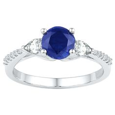 Diamond Accent White Diamond & Round Created Blue Sapphire & Pear-shaped Created White Sapphire Ring in Sterling Silver-5.00, Women's, Size: 5