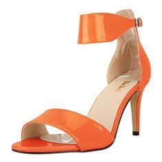 Zbeibei Women's Classic PU Patent Ankle Strap Pumps Open Toe High Heels Sandals(ZBB1072PA40,orange) - http://all-shoes-online.com/zbeibei/9-b-m-us-zbeibei-womens-classic-ankle-strap-pumps-9