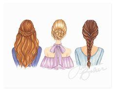 Braided Besties Fashion Beauty Illustration Art by joannabaker
