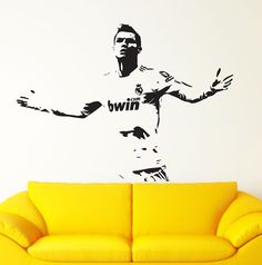Cristiano Ronaldo Celebration CR7 Real Madrid Wall Art Decal Sticker Size : Size: 22.8in H (58cm) x 31.5in W (80cm) Ideal for Walls,
