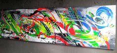 Schwarzlicht-Farben! Bild abstrakt Acryl Bilder modern XXL Kunst Original Deko
