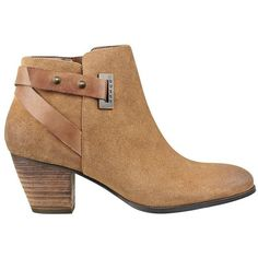 GUESS Verity Chunky-Heel Booties found on Polyvore featuring shoes, boots, ankle booties, dark brown suede, dark brown boots, chunky heel boots, studded boots, mid heel booties and buckle booties