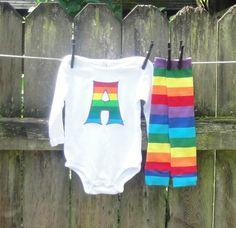 RAINBOW Striped - 2pc Appliqued Shirt or Onesie/Kool Kid Legs set for Children, Babies, Toddlers, Kids, Girls, Boys