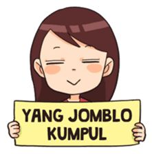 Are you jomblo? Mutia the cute jomblo is here to accompany your daily convos! Quotes Lucu, Funny Stickers, Chat App, Line Sticker, Emoticon, Girl Humor, Islamic Art, Art Girl, Sarcasm