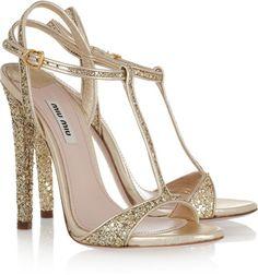 Miu Miu Glitter-finish leather sandals