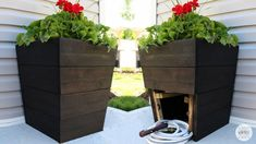 DIY Planter With Hidden Hose Storage : 15 Steps (with Pictures) - Instructables Tall Planters, Basket Planters, Modern Planters, Wood Planters, Cedar Planter Box, Planter Boxes, Hidden Storage, Diy Storage, Storage Ideas