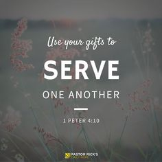 "The Bible says in 1 Peter 4:10, ""God has given each of you a gift from his great variety of spiritual gifts. Use them well to serve one another"" (NLT, second edition). When you use your abilities to help each other, God is glorified."