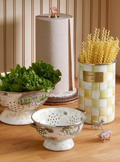 All about Aurora (which is where our farm is)! I love these new colanders, which look great with Parchment Check!