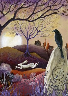 Fantasy Greeting Card featuring the painting The Hare And Crow by Amanda Clark