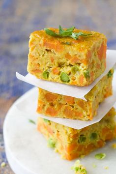 stack of 3 lentil bake squares