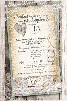 Afrikaanse E-pos Uitnodigings - E-Invites die Tuiste van E-pos Uitnodigings E Invite, Invitation Design, Shabby Chic Wedding Invitations, Wedding Stationery, Electronic Invitations, Event Themes, Happy Endings, 50th Birthday, Portfolio Design