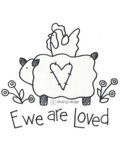 Prim Mart Crafter's Online Community - FREE Ewe Are Loved (sheep) Stitchery/Painting Pattern