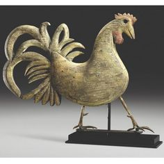 A RARE AND IMPORTANT FULL-BODIED PINE ROOSTER WEATHERVANE, JOHN LOMBARD, BRIDGTON, MAINE CIRCA 1880