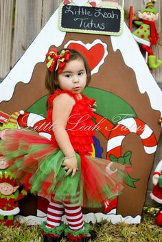 Holly Jolly Holiday Tutu- Red and Green Christmas Tutu, Candy Cane Striped Ribbon Bow, Photography Prop, Toddler Tutu, Newborn tutu