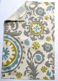 Tea Towels, cotton Kitchen dish towels Blue Green Grey Suzani summerland set of TWO. $23.50, via Etsy.