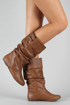 Soda Trunk-S Leatherette Slouchy Buckle Mid Calf Boot $29.70