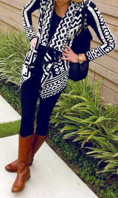 Stylish printed black and white cardigan with leather long booties