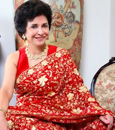 Saree with Parsi Gara Embroidery