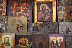 Russian icon paintings for sale, St. Petersburg, Russia, Europe