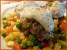 Mäsové guľky so zeleninou a cestovinami - parný hrniec (fotorecept) Steak, Food And Drink, Eggs, Beef, Breakfast, Meat, Breakfast Cafe, Egg, Ox