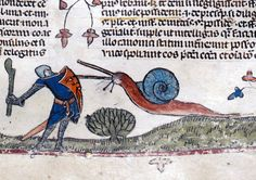 How do you spice up the dull task of copying line after line of a medieval manuscript? Some monks added lighthearted touches to the marginalia of their manuscripts by doodling things like a knight battling a giant snail (from The Smithsfield Decretals, decretals of Gregory IX, Tolouse, c. 1300)