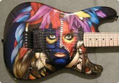 Stormshadow Guitarworks DBS 'Eat em an Smile' Airbrushed Graphic by Dan Lawrence. Seymour Duncan Blackout pickups & Floyd Rose Original