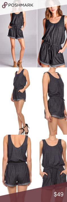 S-XL Denim Sleeveless Romper w/pockets Super cute sleeveless knit denim romper! Comfort meets style in this look that is easy to dress up or down. Relaxed style with a cinched waist, front pockets and cuffed hems. 92% Polyester, 8% Spandex & it's lightweight & stretchy. Sold in original packaging. Sizes S-XL available. Color is navy. No trades. Price firm RESTOCKED Pants Jumpsuits & Rompers
