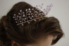 Violet Crystal wedding crown wedding tiara by HoneyPieBridal