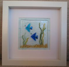 Two Blue Fish Fused Glass Picture by HighlandHeartDesign on Etsy