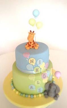 Giraffe for phoebe christening cake? Cupcakes, Cupcake Cakes, Baby Boy Cakes, Baby Shower Cakes, Christening Cake Boy, Jungle Cake, 1st Birthday Cakes, Animal Cakes, Cake Decorating